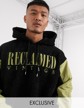 Reclaimed Vintage borg hoody with branded drawstring
