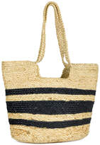 Magid Women's Handbags BLACK - Black & Tan Stripe Woven Tote