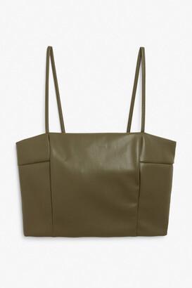 Monki Faux leather crop top