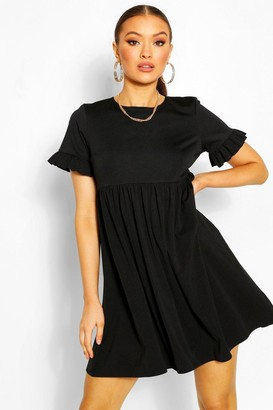 boohoo Crepe Ruffle Sleeve Smock Dress