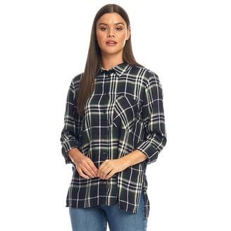 Only You Womens Nadia Long Sleeve Woven Check Shirt Ponderosa Pine