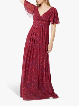 Maids To Measure Caroline Dress, Burgundy Confetti