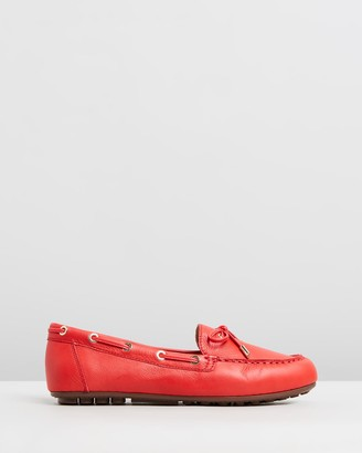Vionic Women's Red Brogues & Loafers - Virginia Leather Moccasins - Size One Size, 5 at The Iconic
