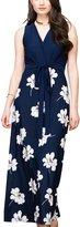 Fairweather Women's Casual Sleeveless V-neck Tie Waist Maxi Dress - Blue