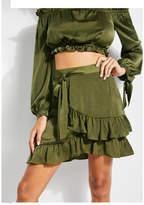 Guess Ruffled Tie-Waist Wrap Skirt