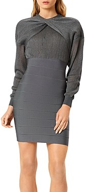 Herve Leger Twisted Neck Bandage Skirt Dress