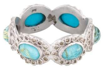 Armenta Turquoise & Diamond New World Oval Stacking Ring