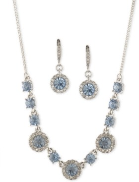 """Givenchy Round Crystal Drop Earrings & Frontal Necklace, 16"""" + 3"""" extender"""
