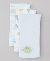 SpaSilk Blue Dinosaur Burp Cloth Set - Infant