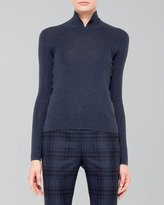 Akris Cashmere-Silk Knit Polo-Style Pullover, Denim
