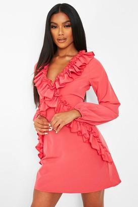 boohoo Ruffle Long Sleeve Shift Dress