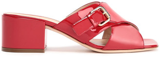 Sergio Rossi Buckle-embellished Patent-leather Mules