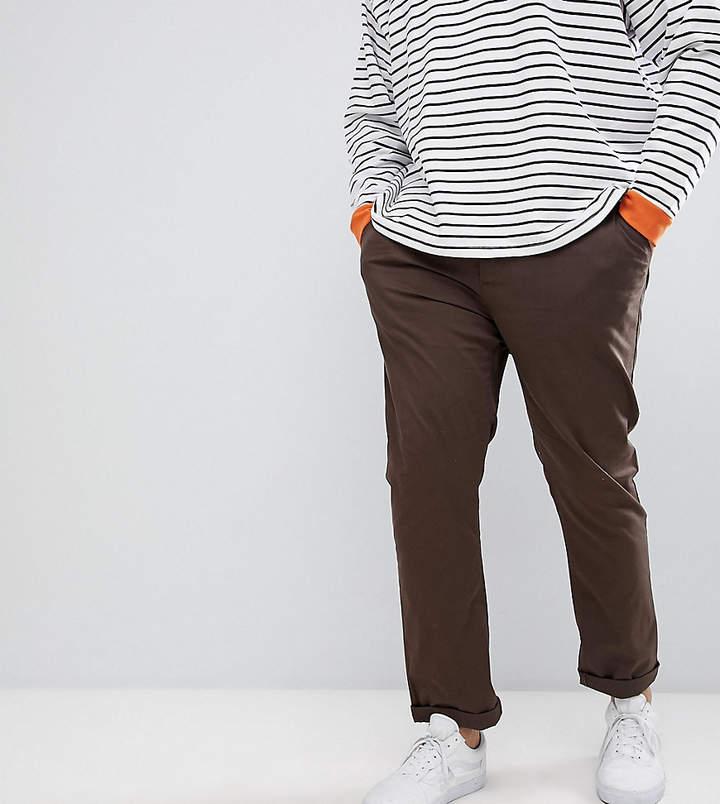 Asos Design Plus Slim Chinos In Brown