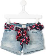 Armani Junior belted denim shorts - kids - Cotton/Polyester/Spandex/Elastane/Viscose - 4 yrs