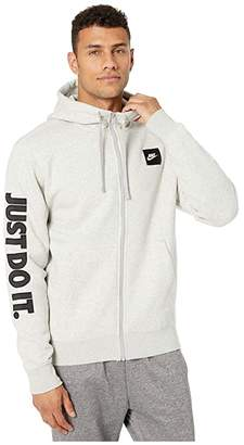 Nike NSW Just Do It Hoodie Full Zip Fleece Mix (Black/White) Men's Sweatshirt
