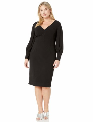 Dress the Population Women's Plus Size Norah Long Sleeve Plunging Midi Sheath Dress