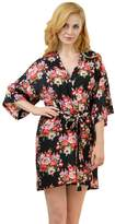 Remedios Kimono Robes Floral Party Nightgowns Short Sleepwear Lounge,Black