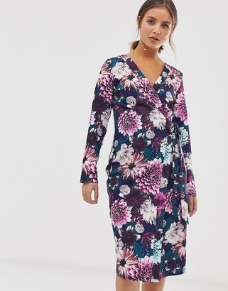 Paper Dolls wrap midi dress with tie waist in floral print-Multi