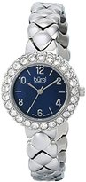 Burgi Women's BUR113SSB Crystal Accented Silver Swiss Quartz Watch with Black Mother of Pearl Dial and Silver Bracelet