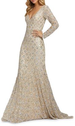 Mac Duggal Diamond Pattern Sequin V-Neck Long-Sleeve Column Gown
