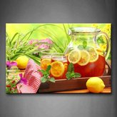 First Wall Art - Tea With Lemon In Teapot With Grass Wall Art Painting Pictures Print On Canvas Food The Picture For Home Modern Decoration
