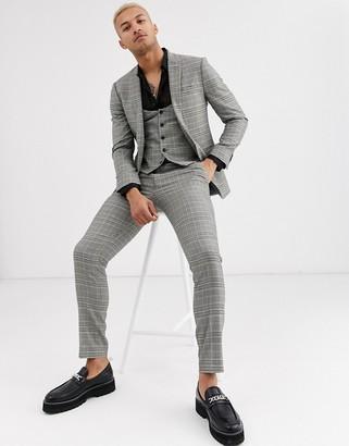 Topman skinny suit jacket in grey house check