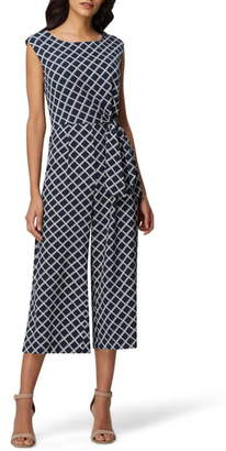 Tahari Pebble Tie Waist Crepe Crop Jumpsuit