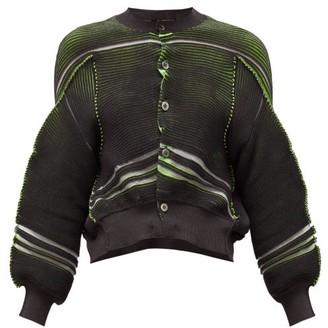 Junya Watanabe Abstract-stripe Rib-knitted Jersey Cardigan - Womens - Grey Multi