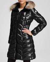 Moncler Bellette Hooded Down Coat with Fur Trim