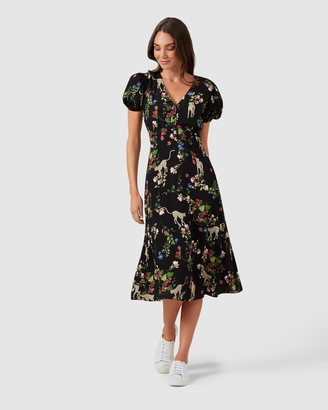 French Connection Cheetah Floral Midi Dress