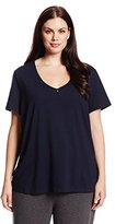 Nautica Sleepwear Women's Plus Size Knit Jersey V-Neck Tee