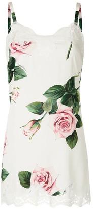Dolce & Gabbana Rose-Print Lace-Detail Camisole