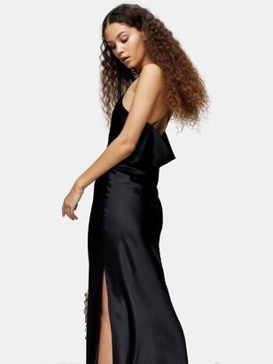 Topshop Satin Cowl Midi Slip Dress - Black