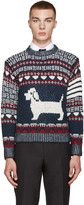 Thom Browne Navy Fair Isle Hector Sweater
