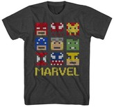 Marvel Boys' Pixel Square Face T-Shirt - Charcoal Heather