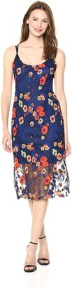 BCBGeneration Women's Floral Embroidered Midi Dress Ultramarine Combo