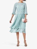 Oasis Tiered Lace Midi Dress, Pale Green