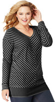 Just My Size Plus Size Blocked Woven Trim Tunic
