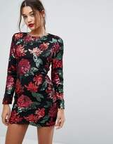 boohoo Floral Sequin Bodycon Mini Dress