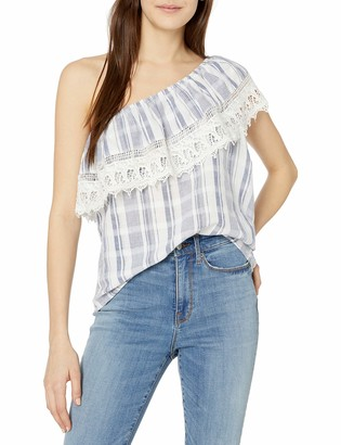 Angie Women's One Shoulder Lace Ruffle Top