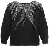 Saint Laurent Embellished Mohair-blend Sweater - Black