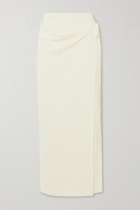 LE 17 SEPTEMBRE Ribbed-knit Wrap Maxi Skirt - Ecru