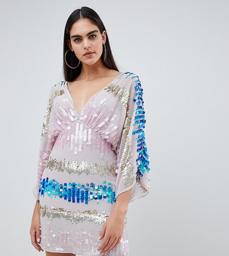 Asos Tall DESIGN Tall kimono mini dress in the scattered coloured sequins-Multi
