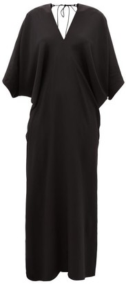 Thea - The Chara V-neck Silk-georgette Maxi Dress - Black