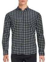 Saks Fifth Avenue BLACK Cotton Tonal Plaid Shirt