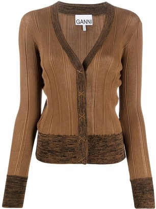 Ganni Ribbed Knit Colour Block Cardigan