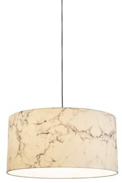 "Innermost Marble Shade 12"" H x 23.7"" W Polyester Drum Pendant Shade ( Screw On Finish: White"