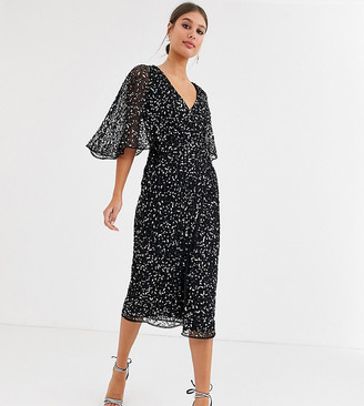 Maya Tall Bridesmaid delicate sequin wrap midi dress in black