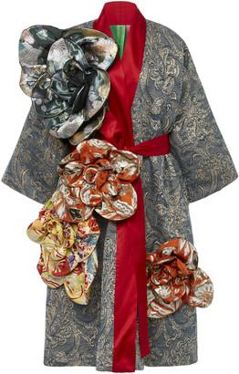RIANNA + NINA Exclusive Belted Floral-Appliqued Silk-Brocade Coat