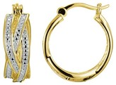 Prime Art & Jewel 18k Yellow Gold Plated Sterling Silver Diamond Accent Hoop Earrings